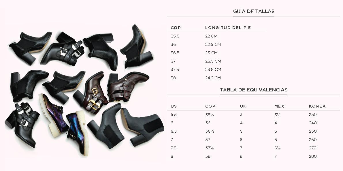 Guia de tallas zapatos
